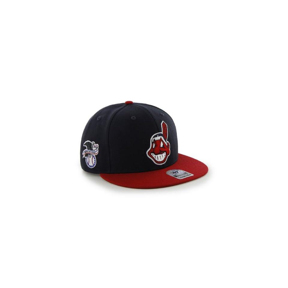 MLB Cleveland Indians Mens 47 Brand Big Shot Snapback Cap (Navy, One Size)