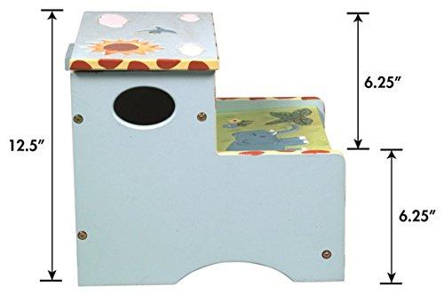 Coffre de rangement en bois motifs safari, 36.8 x 33 x 31.8 cm -PEGANE-