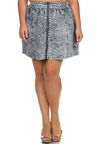 (Plus Size) Denim Zip-Up Front A-line Skirts