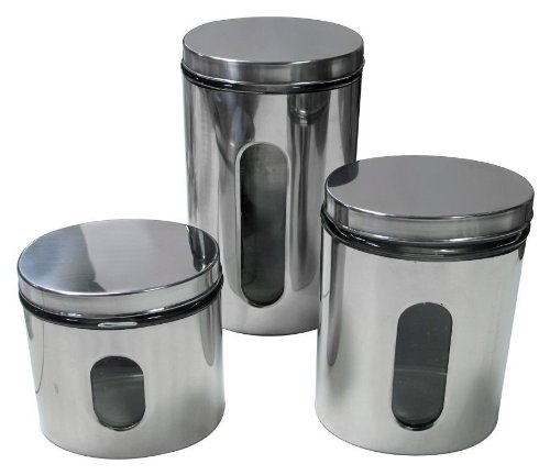 Imperial Home Mw1201 Stainless Steel Glass 3 Pieces Oval Canister Set With Air Tight Lids