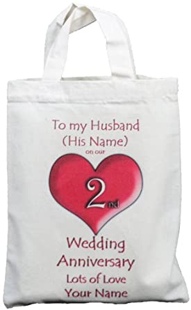 ... 2nd Wedding Anniversary to my Husband - Small Natural Cotton Gift Bag
