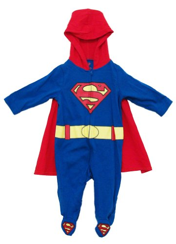 Superman DC Comics Newborn One Piece Coverall Costume With Cape