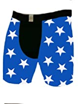 Blue with White Stars Mens Shorts (Blue with White Stars, 7 in. Adult L Waist = 34-36 in.)
