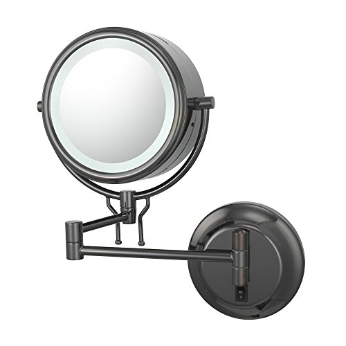 Kimball And Young 91405Hw Double-Sided Contemporary Wall Mirror Hardwired, 1X And 5X Magnification, Black Nickel front-871931