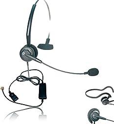 ShoreTel Compatible Headset Bundle | VXI Tria Ultra Noise-Canceling VoIP Headset | Telephone Interface Cable for ShoreTel IP Phones: 420, 480, 480g, 485g