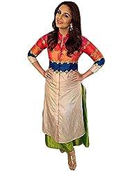 Huma Qureshi Bhagalpuri Silk Patch Work Multicolour Semi Stitched R Suit By FabTexo