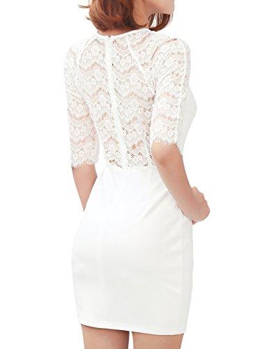 Allegra K Lady High Neckline Elbow Sleeves Lace Bodycon Dress White M
