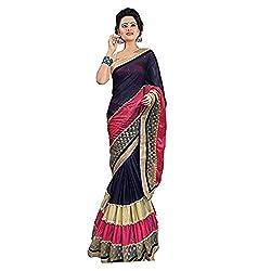 shreepati sarees Multicolor Lycra Border Work Party Wear Saree (SS02_Multicolor)