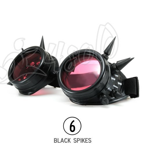 4sold-TM-Cyber-Goggles-Black-with-Cyber-Spikes-Steam-Punk-Rave-Goth-like-Sunglasses-Includes-FREE-set-Lense-Design-Inserts-and-welding-lenses-black-clear-and-brown-black