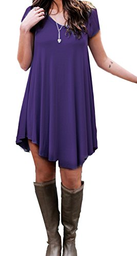 POSESHE Women's Short Sleeve Casual Loose T-Shirt Dress (L, Purple)