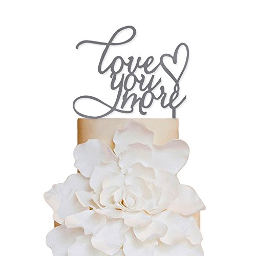 Sugar Yeti Brand Made in USA Cake Toppers Love You More Heart Wedding Cake Toppers Wedding Decoration Acrylic Cake Topper for Special Events