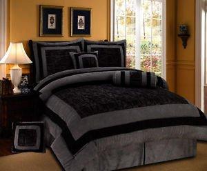 NEW 7pcs Cal King Bedding Gray Black Suede Torrin Comforter Set - Bed in a Bag