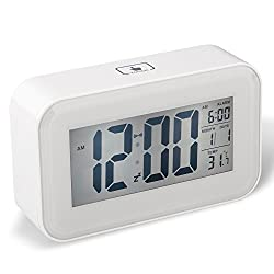 DreamSky Large Screen Portable Digital Alarm Clock With Backlit And Snooze,Time/Date/Temperature Display , Light Activated Night Light ,Easy To set And Battery Operated
