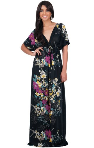 Koh Koh Women's Kimono Sleeve V-Neck Versatile Long Floral Print Maxi Dress – X-Large – Black