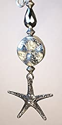 Silver Textured Starfish, Pebbled Silvery Coin Shape, & Faceted Silver Mirror Glass Teardrop Ceiling Fan Pull Chain - Lamp/Light Pull