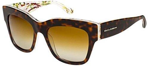 D&G Dolce & Gabbana Women'S Almond Flowers Polarized Square Sunglasses, Havana,Aqua Peach Flower & Polarized Brown Gradient, 54 Mm