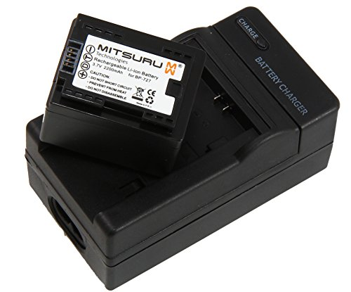Mitsuru® Akku + Ladegerät Ersatz für Canon BP-727 BP727 passend zu VIXIA R37HF R38HF R400HF R40HF R42