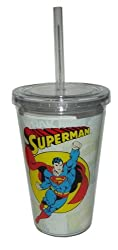 Spoontiques Superman Cup with Straw, , Clear
