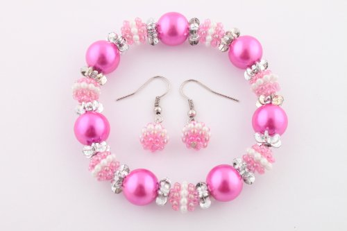 Ladies Fuchsia Pearl Beads with Mini Pearl Beads Stretch Bracelet & Matching Earrings Jewelry Set