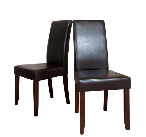 Simpli Home Acadian Collection Parson Chair, Pu Leather, 2-Pack