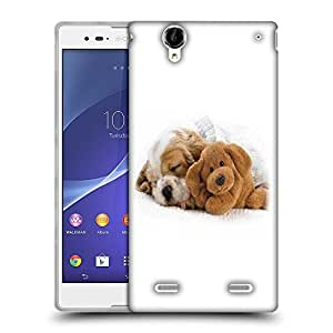 Snoogg Puppy Sleepng With Teddy Designer Protective Phone Back Case Cover For Sony Xperia T2 Ultra