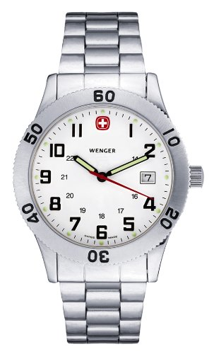 Wenger Men's Rugged Style Watch 72969W With Steel Bracelet And White Dial