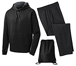 Sport Tek Men\'s Sport Wick Fleece Tracksuit, S, Smoke Grey/Black