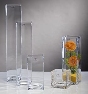 glasvase glas vase blumenvase tischvase bodenvase quadrat gro 50 cm k che haushalt. Black Bedroom Furniture Sets. Home Design Ideas
