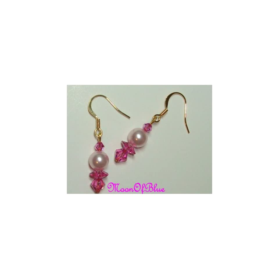 Gold Plated Swarovski Crystal/Pearl Earrings Arts, Crafts & Sewing