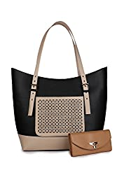 WOMEN MARKS SHOULDER BAG BLACK&CREAM (SHIP) COMBO