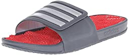adidas Performance Men\'s Adissage 2.0 M Stripes Sandals,Onix Grey/Metallic Silver/Vivid Red,11 M US