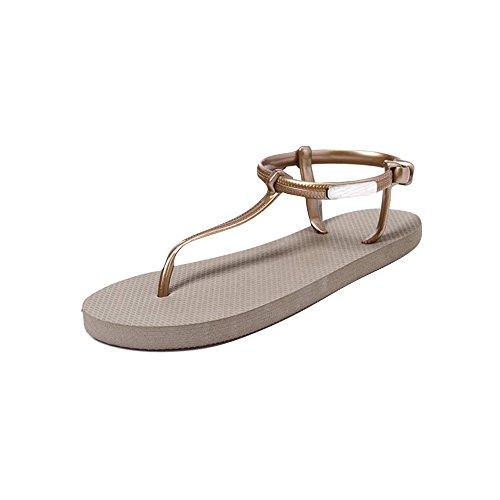 Fortan Scarpe ragazza delle donne sandali estate scarpe da spiaggia semplici sandali piatti (EU=38, Cachi)