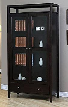 Aristo Modern Halifax Brown Solid Wood 2-door Bookcase with Glass Door - Tall Media Storage Cabinet