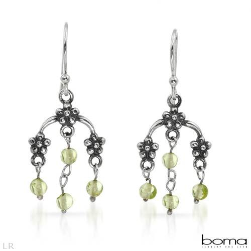BOMA Attractive Chandelier Earrings With 0.65ctw Genuine Peridots 925 Sterling silver Length 30mm