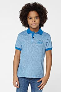 Boy's Short Sleeve Heathered Jersey Polo With Intarsia Croc