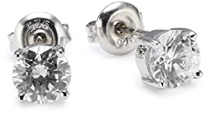 Rocio Illumini Rhodium Plated Silver Swarovski Zirconia Stylish Stud Earrings