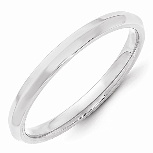 Roy Rose Jewelry 14K White Gold 2.5mm Knife Edge Comfort Fit Wedding Band Ring Size 9.5