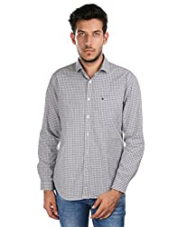 Oxemberg Men's Checkered Sports 100% Cotton Grey Shirt