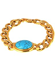 The Jewelbox Salman Curb 18K Gold Plated Surgical Stainless Steel Turquoise Bracelet For Men