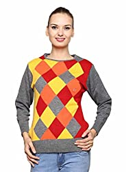 Leebonee Women's Acrylic Full Sleeve Medium Grey Mixture Sweater