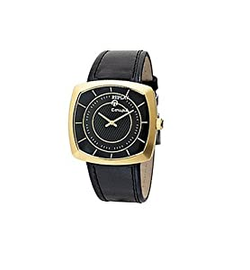 Replay Gents Black Dial Black Leather Strap Watch