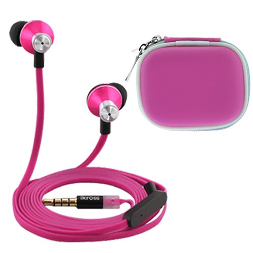 Ikross In-Ear 3.5Mm Noise-Isolation Stereo Earbuds With Microphone (Hot Pink / Black) + Hot Pink Accessories Carrying Case For Amazon Fire Phone Cellphone Smartphone Tablet And Mp3 Player