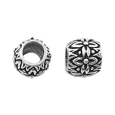 Sterling Silver Bali Flower Barrel Tube Bead - Fits Pandora - 9mm