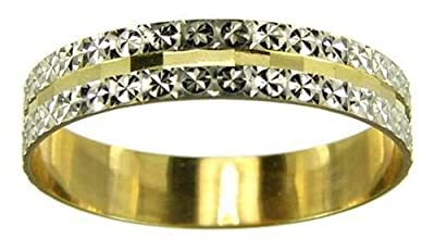 Kareco 9ct 2 Colour Gold 4mm Light Flat Diamond Cut Wedding Ring