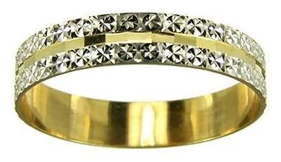 Kareco 9ct 2 Colour Gold 4mm Light Flat Diamond Cut Wedding Ring