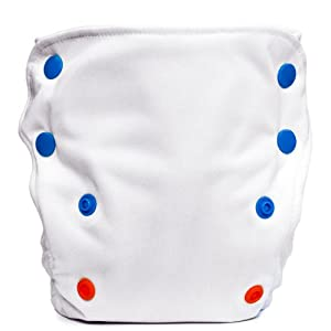 Babykicks 3G Pocket Diaper, White/Multicolored Snaps