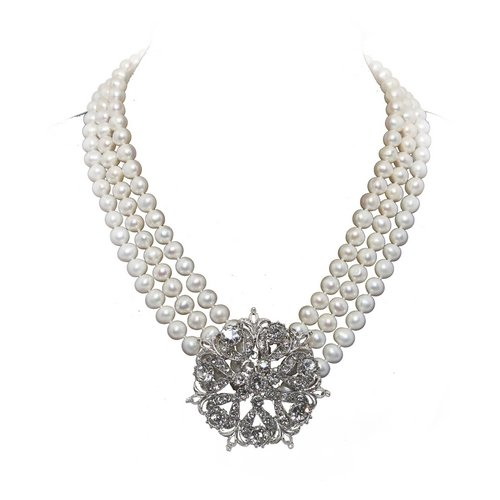 3-row Bridal Wedding with Wedding Brooch 6.5-7.5mm White Freshwater Pearl Necklace 17/17.5/18.5