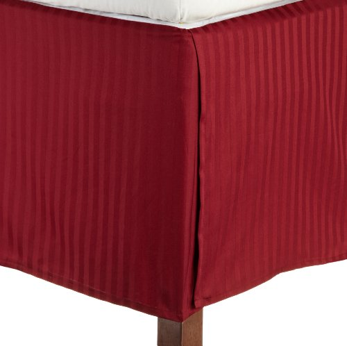 Impressions 1500 Series Wrinkle Resistant Pleated Twin Xl Bed Skirt Stripe, Burgundy front-911554