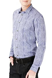 Autograph Luxury Pure Cotton Slim Fit Scratch Print Shirt [T25-3312T-S]