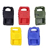 BAOFENG 5 Color/Pack Handheld Soft Rubber Case Portable Silicone Cover Shell UV-5X3 UV-F8HP UV-5R Series Two Way Radios (Black,red,Blue,Yellow,Camouflage) (Color: black,red,blue,yellow,camouflage)